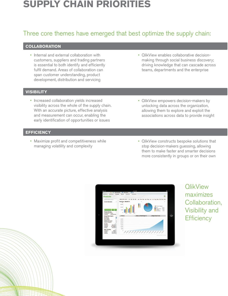 Areas of collaboration can span customer understanding, product development, distribution and servicing QlikView enables collaborative decisionmaking through social business discovery; driving