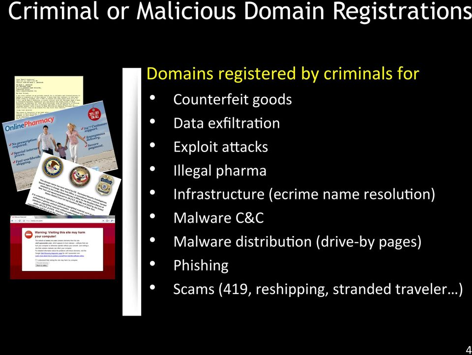 pharma Infrastructure (ecrime name resolu;on) Malware C&C Malware
