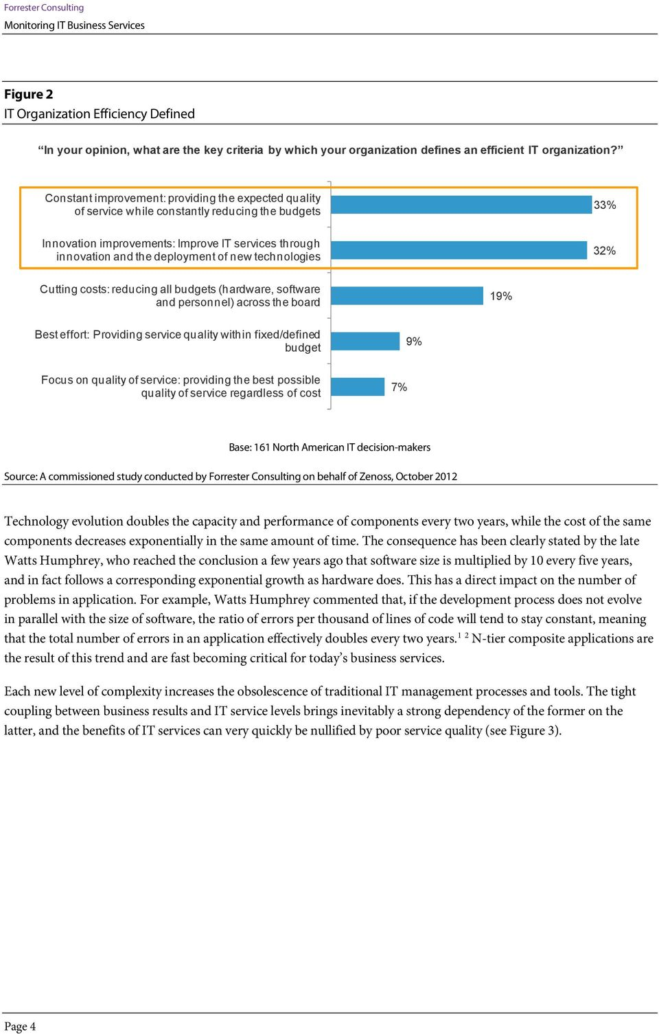 technologies 32% Cutting costs: reducing all budgets (hardware, software and personnel) across the board 19% Best effort: Providing service quality within fixed/defined budget 9% Focus on quality of