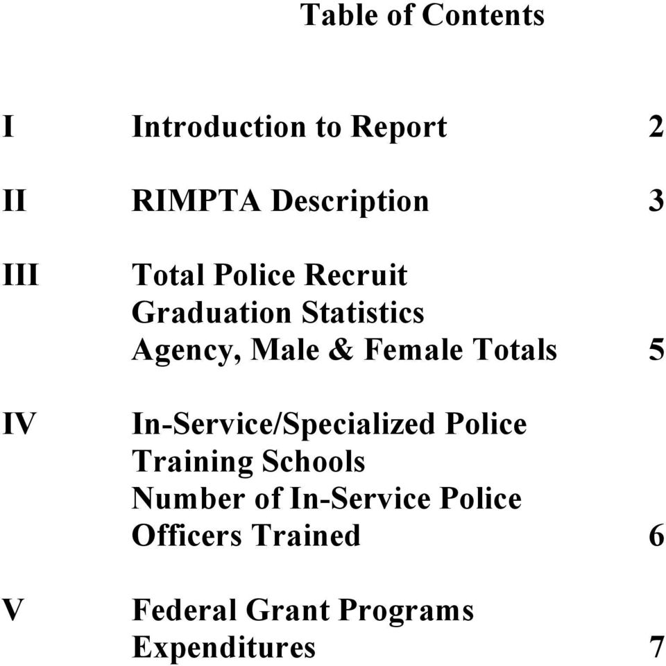 Female Totals 5 In-Service/Specialized Police Training Schools Number