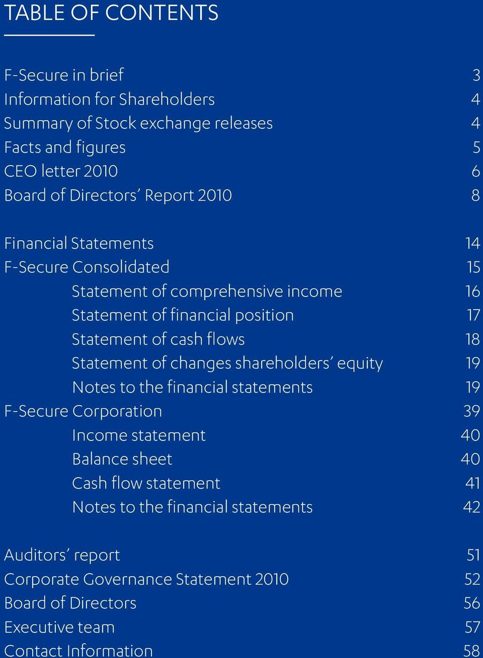 Statement of changes shareholders equity 19 Notes to the financial statements 19 F-Secure Corporation 39 Income statement 40 Balance sheet 40 Cash flow statement 41