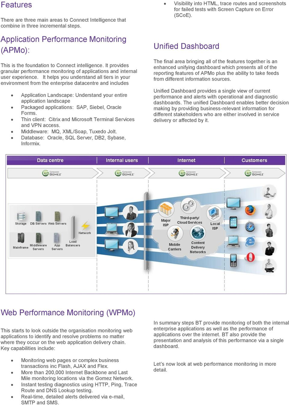 It provides granular performance monitoring of applications and internal user experience.