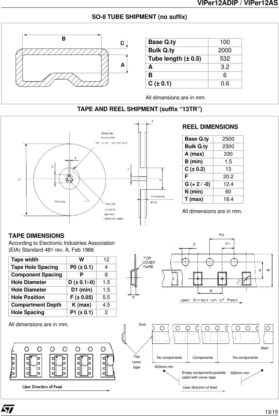 TAPE DIMENSIONS According o Elecronic Indusries Associaion (EIA) Sandard 481 rev. A, Feb 1986 Tape widh W 12 Tape Hole Spacing P0 (± 0.1) 4 Componen Spacing P 8 Hole Diameer D (± 0.1/-0) 1.