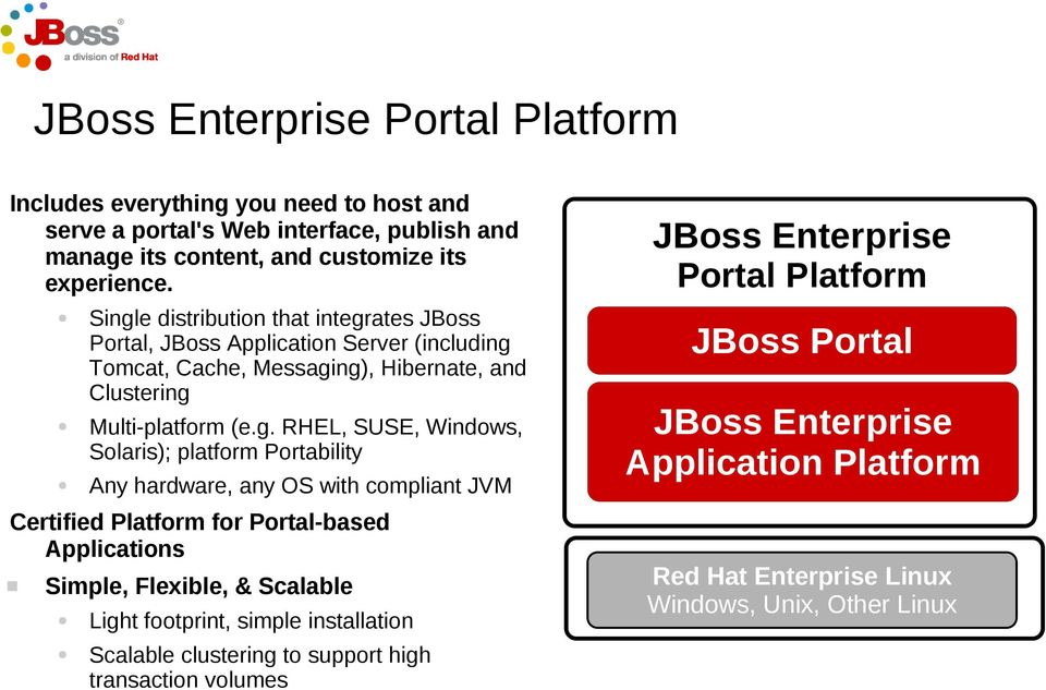 Solaris); platform Portability Any hardware, any OS with compliant JVM Certified Platform for Portal-based Applications Simple, Flexible, & Scalable Light footprint, simple