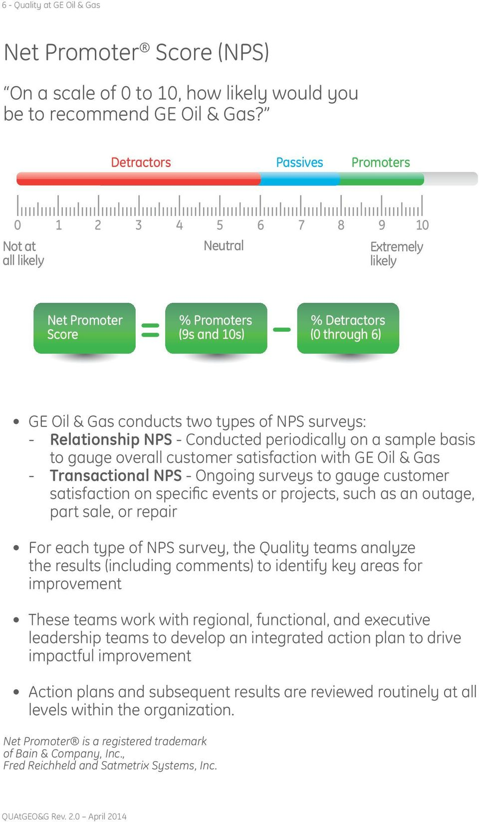 of NPS surveys: - Relationship NPS - Conducted periodically on a sample basis to gauge overall customer satisfaction with GE Oil & Gas - Transactional NPS - Ongoing surveys to gauge customer