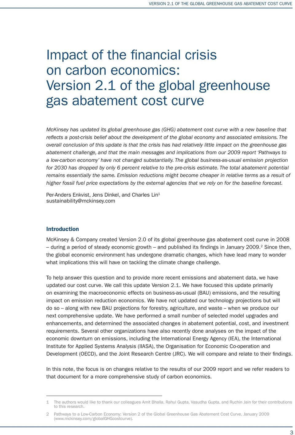 development of the global economy and associated emissions.