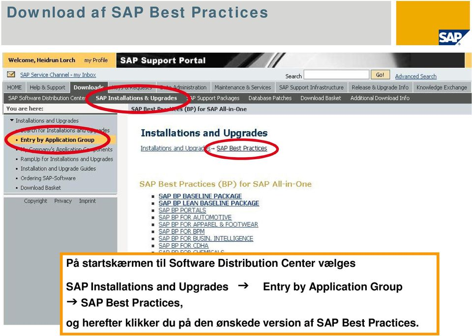 Application Group SAP Best Practices, og herefter