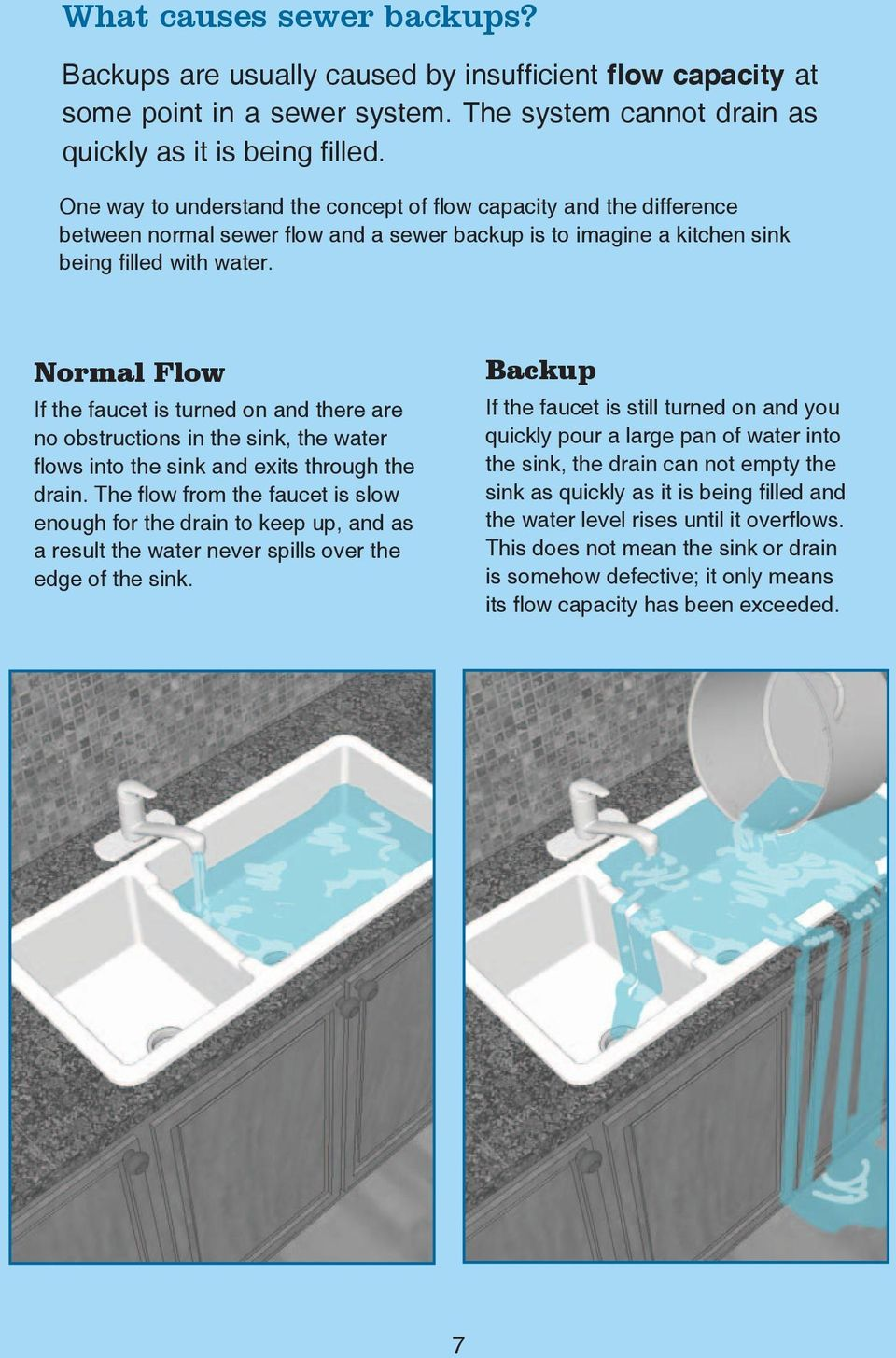 Normal Flow If the faucet is turned on and there are no obstructions in the sink, the water flows into the sink and exits through the drain.
