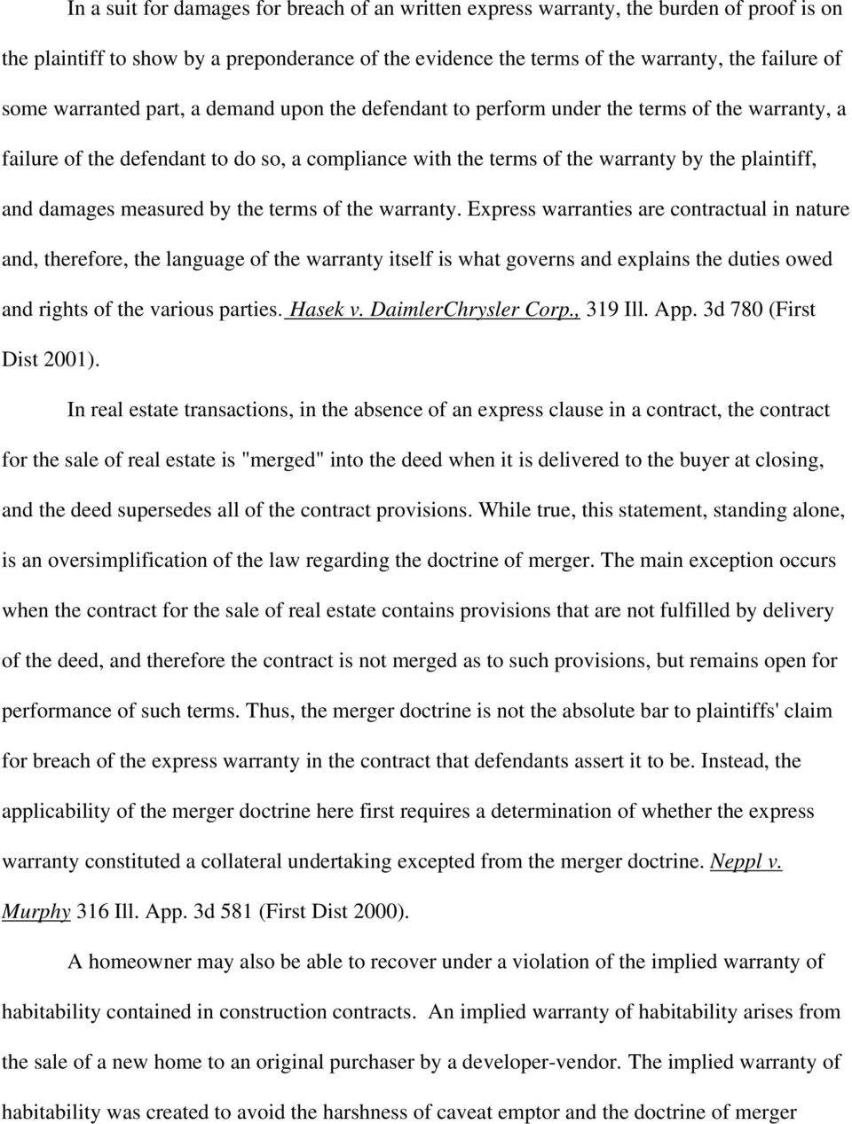 measured by the terms of the warranty.