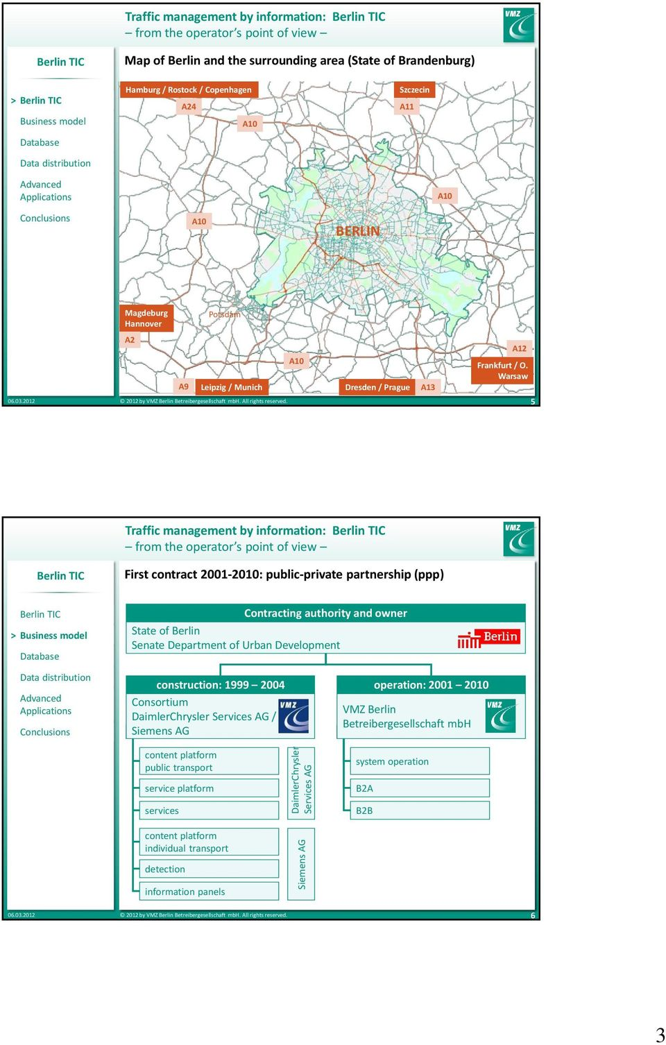 Warsaw 5 Traffic management by information: First contract 2001-2010: public-private partnership (ppp) Contracting authority and owner State of Berlin Senate Department of Urban Development
