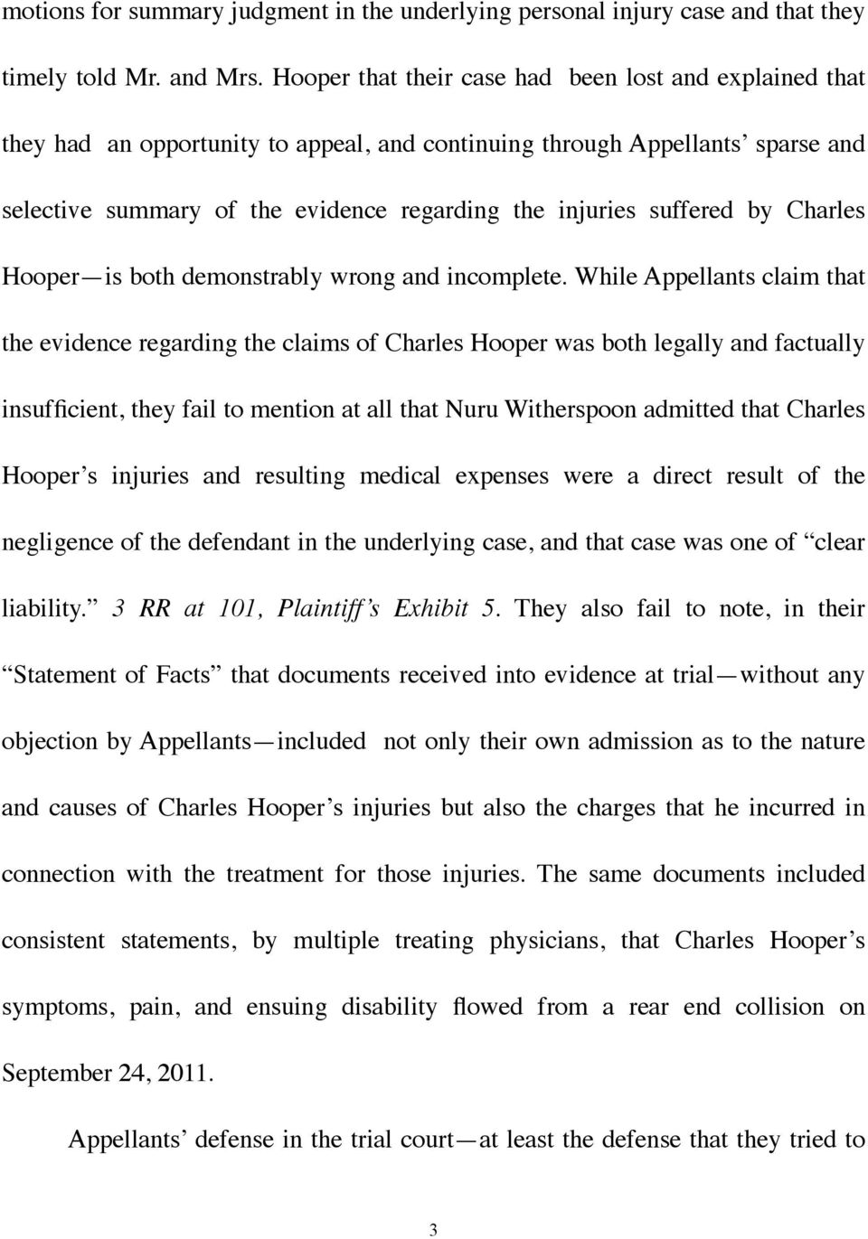 suffered by Charles Hooper is both demonstrably wrong and incomplete.