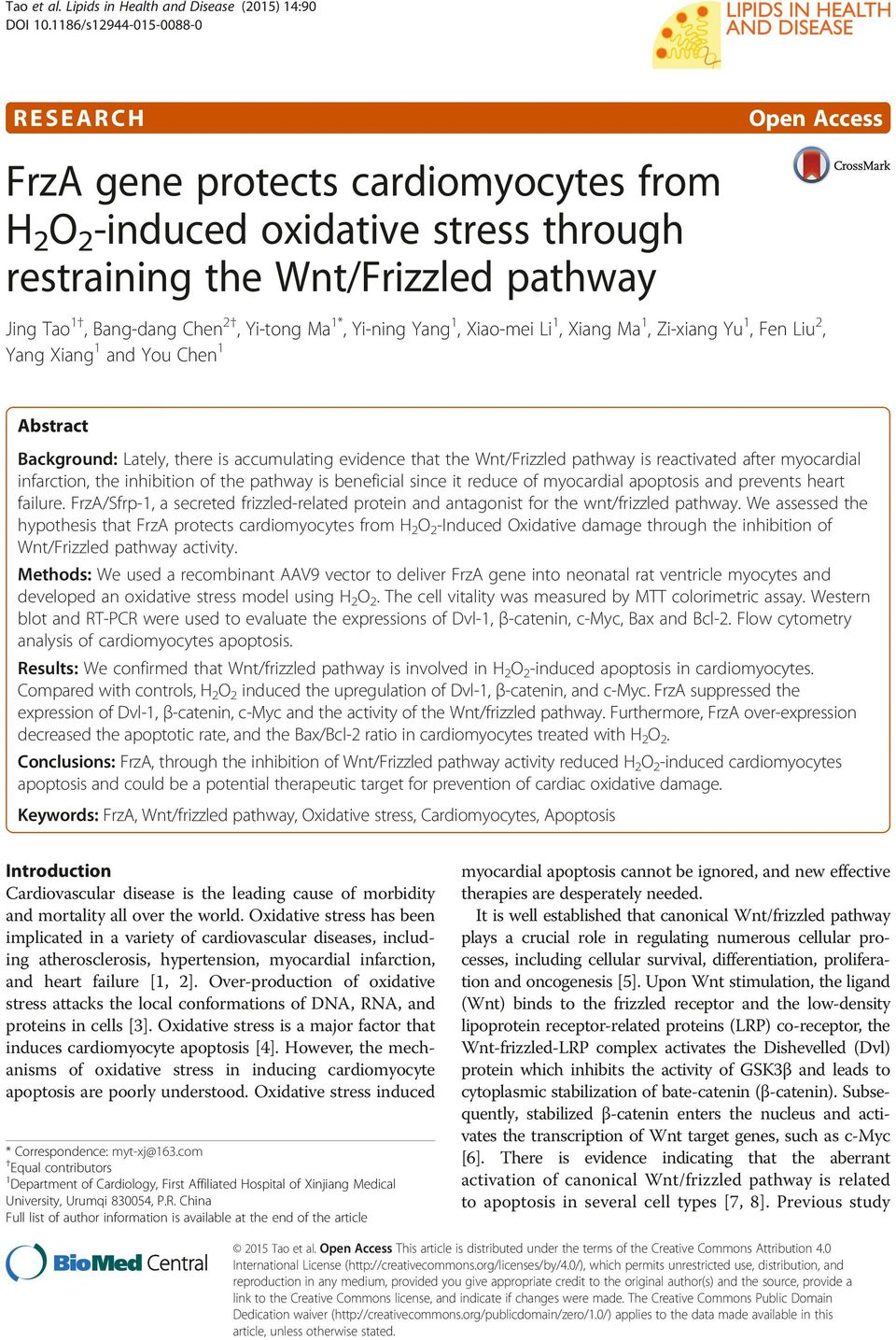 Ma 1*, Yi-ning Yang 1, Xiao-mei Li 1, Xiang Ma 1, Zi-xiang Yu 1, Fen Liu 2, Yang Xiang 1 and You Chen 1 Abstract Background: Lately, there is accumulating evidence that the Wnt/Frizzled pathway is