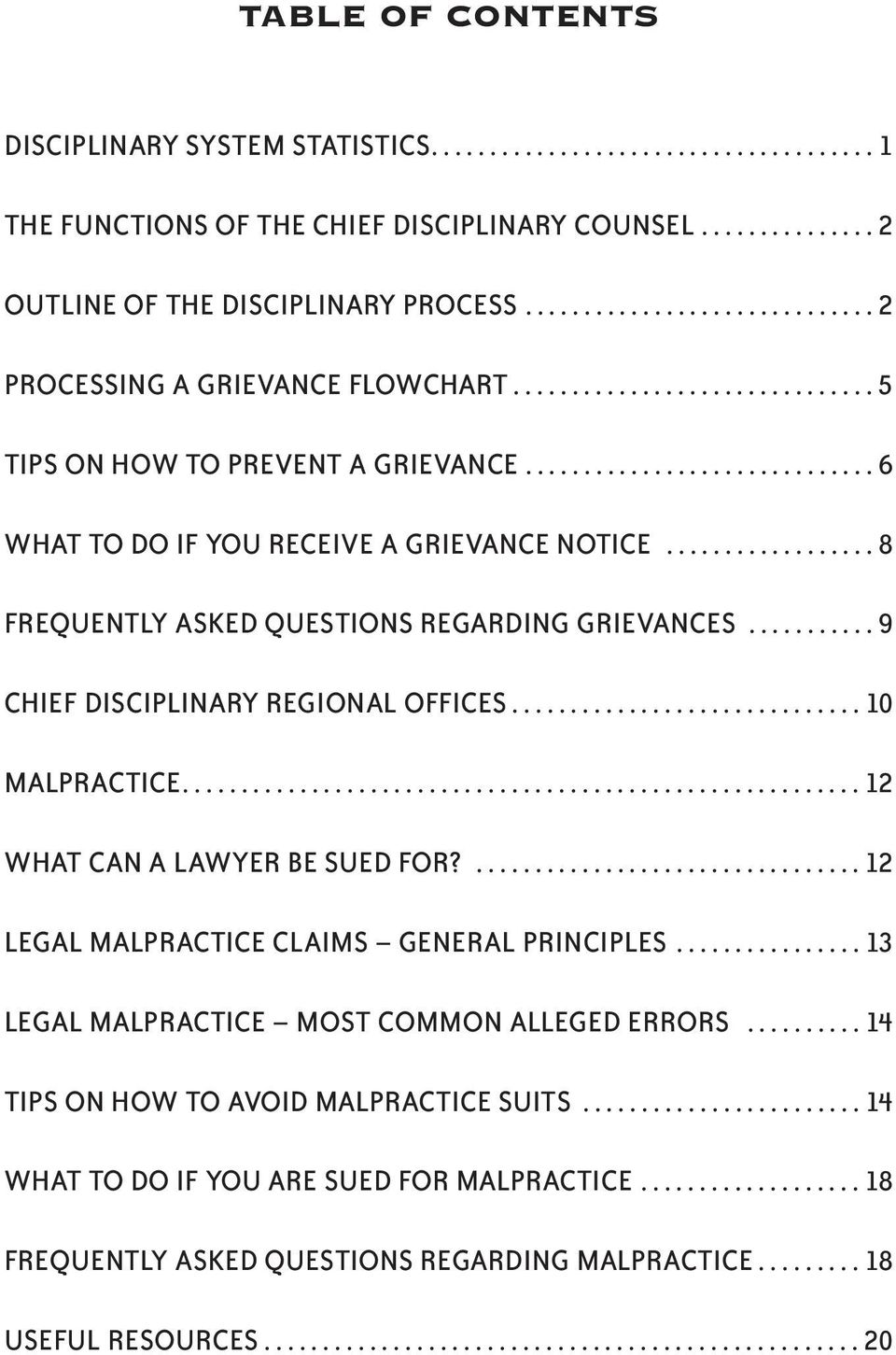 ................. 8 FREQUENTLY ASKED QUESTIONS REGARDING GRIEVANCES........... 9 CHIEF DISCIPLINARY REGIONAL OFFICES.............................. 10 MALPRACTICE.......................................................... 12 WHAT CAN A LAWYER BE SUED FOR?