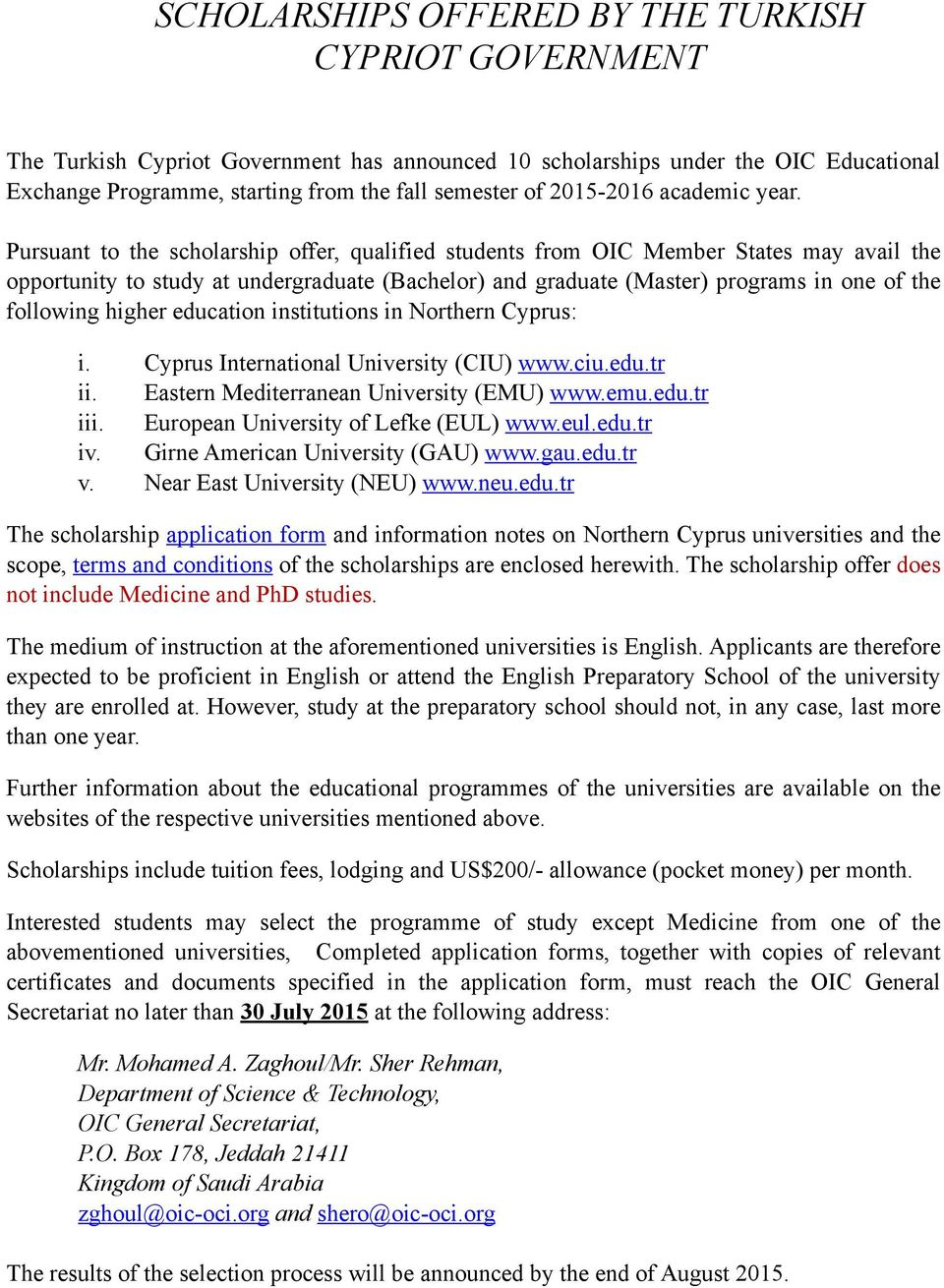 scholarships offered by the turkish cypriot government pdf