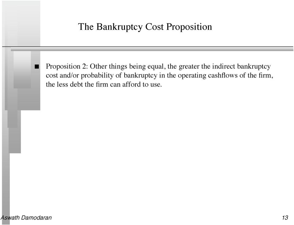 probability of bankruptcy in the operating cashflows of the
