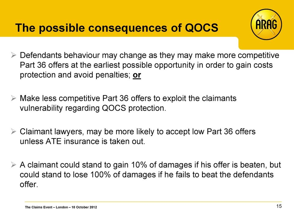 vulnerability regarding QOCS protection. Claimant lawyers, may be more likely to accept low Part 36 offers unless ATE insurance is taken out.