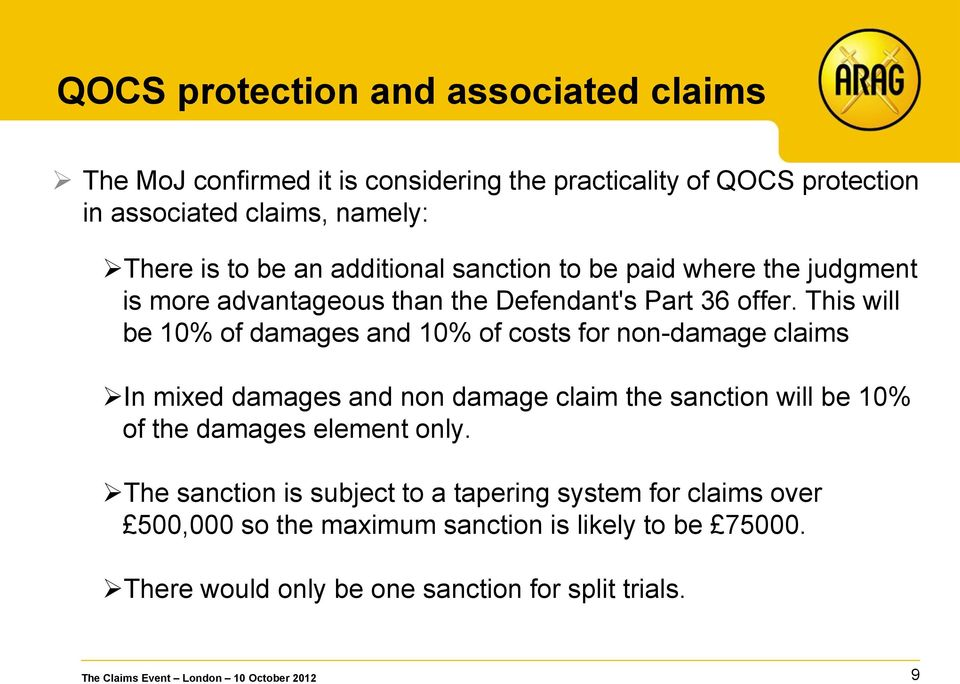 This will be 10% of damages and 10% of costs for non-damage claims In mixed damages and non damage claim the sanction will be 10% of the damages