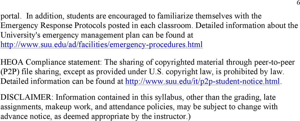 html HEOA Compliance statement: The sharing of copyrighted material through peer-to-peer (P2P) file sharing, except as provided under U.S. copyright law, is prohibited by law.