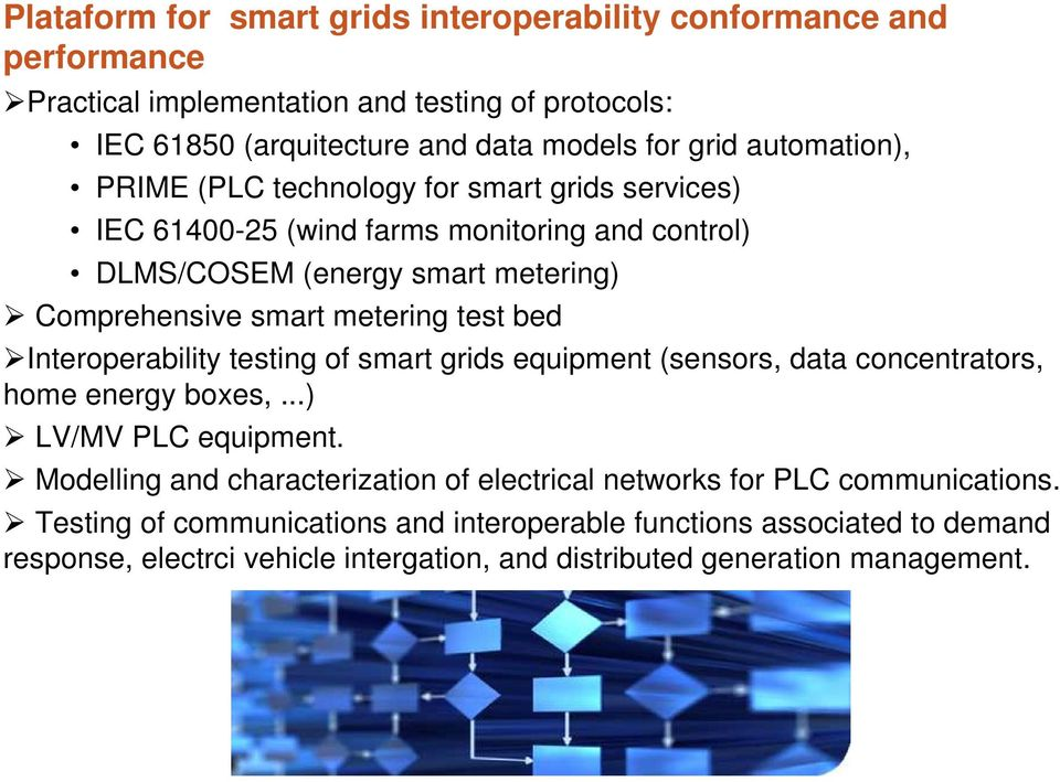 test bed Interoperability testing of smart grids equipment (sensors, data concentrators, home energy boxes,...) LV/MV PLC equipment.