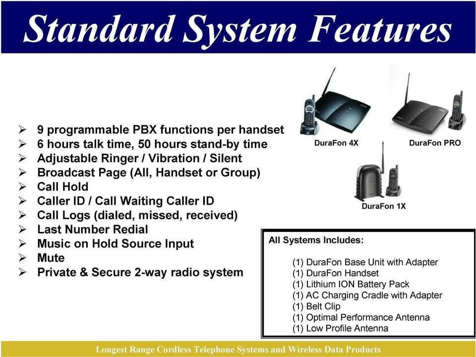 Hold Source Input Mute Private & Secure 2-way radio system DuraFon 4X All Systems Includes: (1) DuraFon Base Unit with Adapter (1) DuraFon Handset
