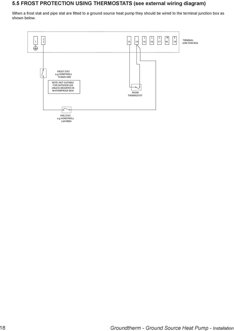 Installation And Operating Pdf Piping Schematic Ground Source Heat Pump N E 1 2 13 14 15 16 17 18 19 Termina Junction Box Frost Stat