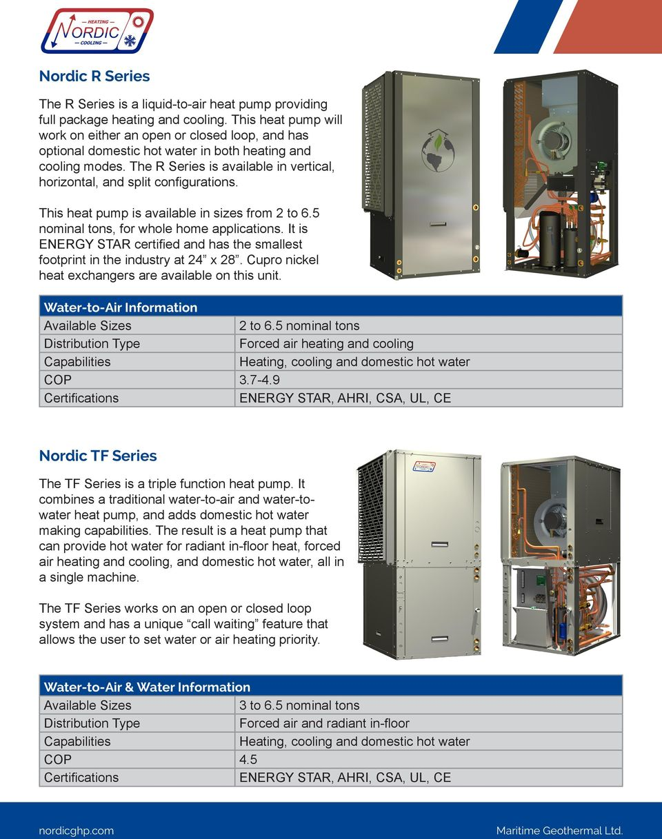 The R Series is available in vertical, horizontal, and split configurations. This heat pump is available in sizes from 2 to 6.5 nominal tons, for whole home applications.