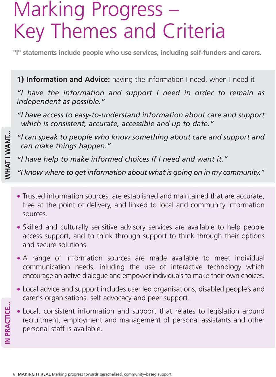 I have access to easy-to-understand information about care and support which is consistent, accurate, accessible and up to date. WHAT I WANT.