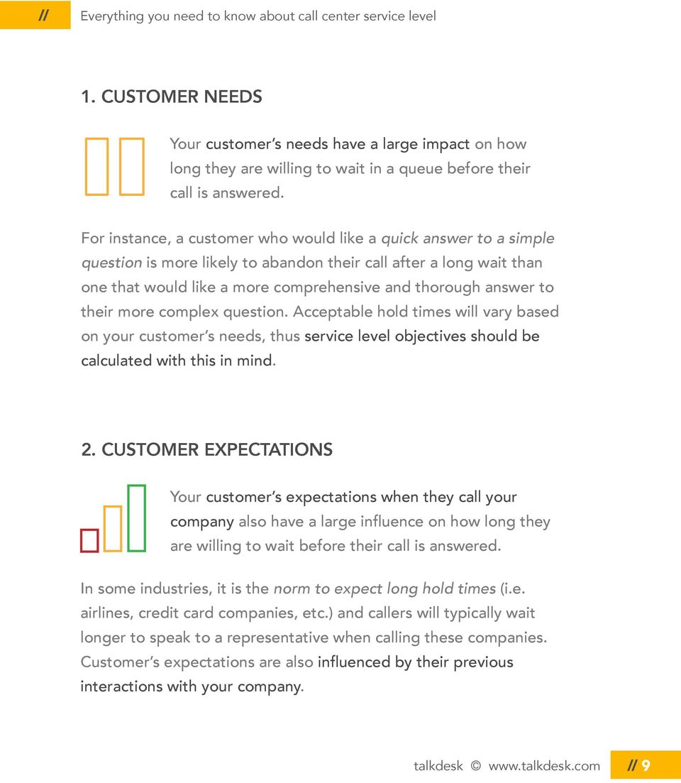 their more complex question. Acceptable hold times will vary based on your customer s needs, thus service level objectives should be calculated with this in mind. 2.