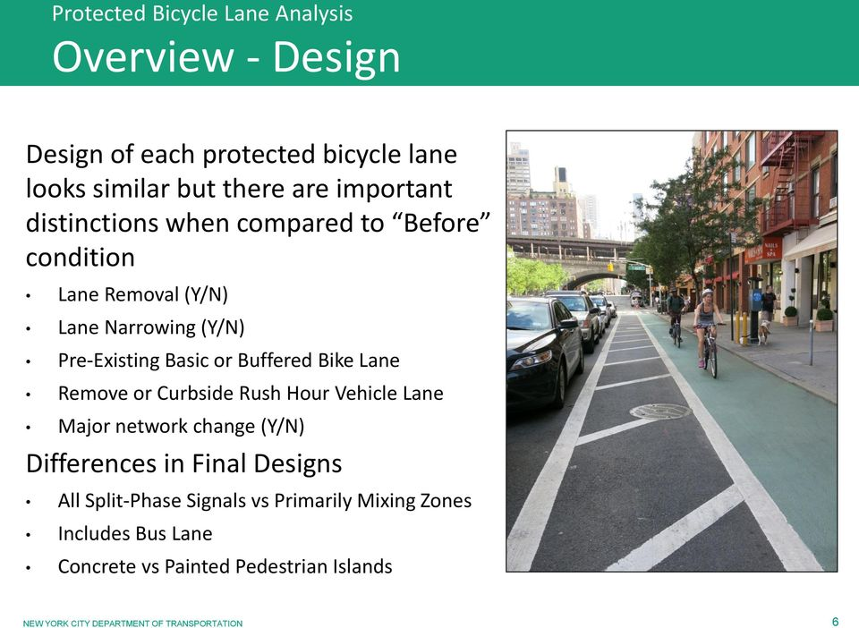 Curbside Rush Hour Vehicle Lane Major network change (Y/N) Differences in Final Designs All Split-Phase Signals vs