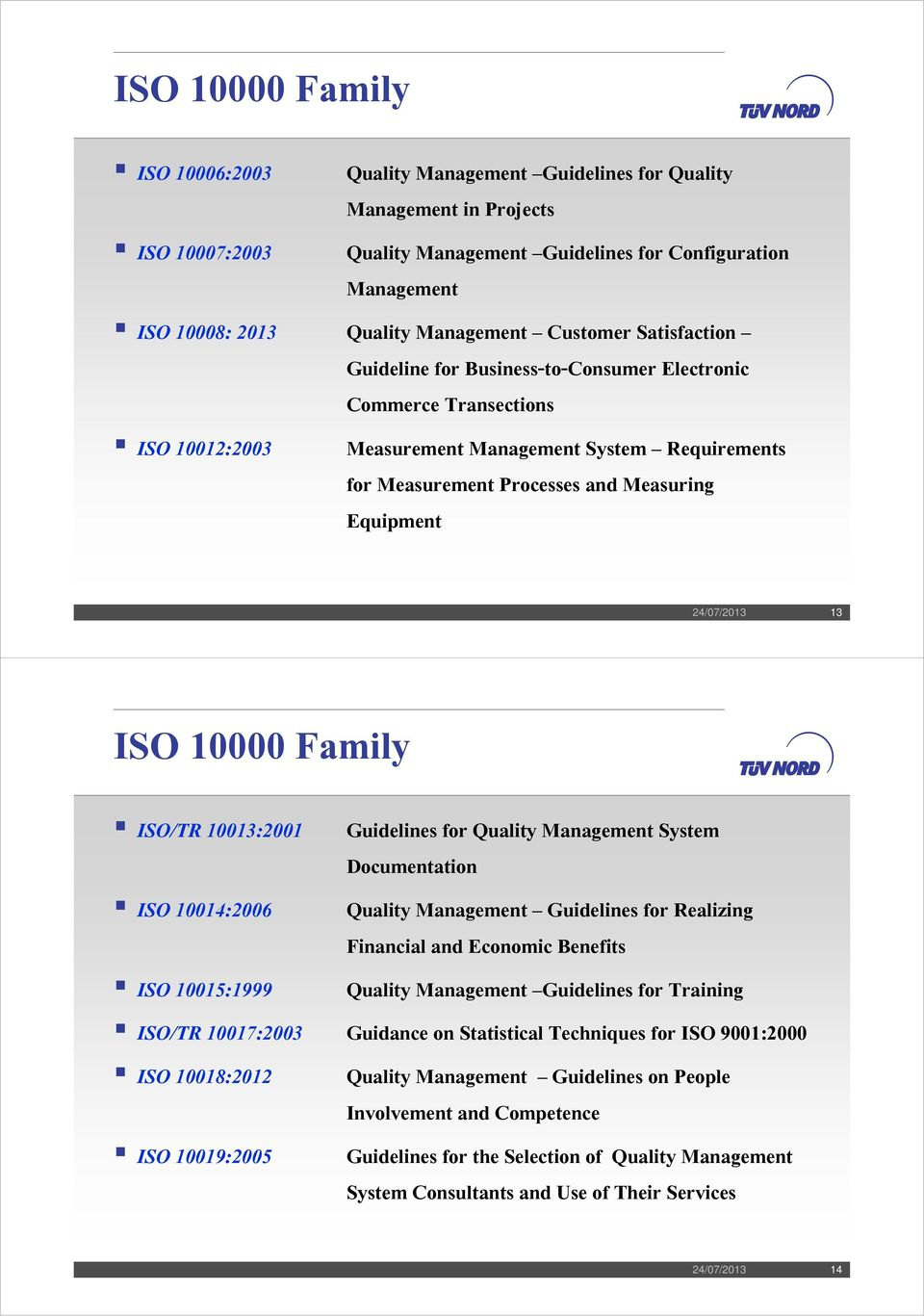 Equipment 24/07/2013 13 ISO 10000 Family ISO/TR 10013:2001 Guidelines for Quality Management System Documentation ISO 10014:2006 Quality Management Guidelines for Realizing Financial and Economic
