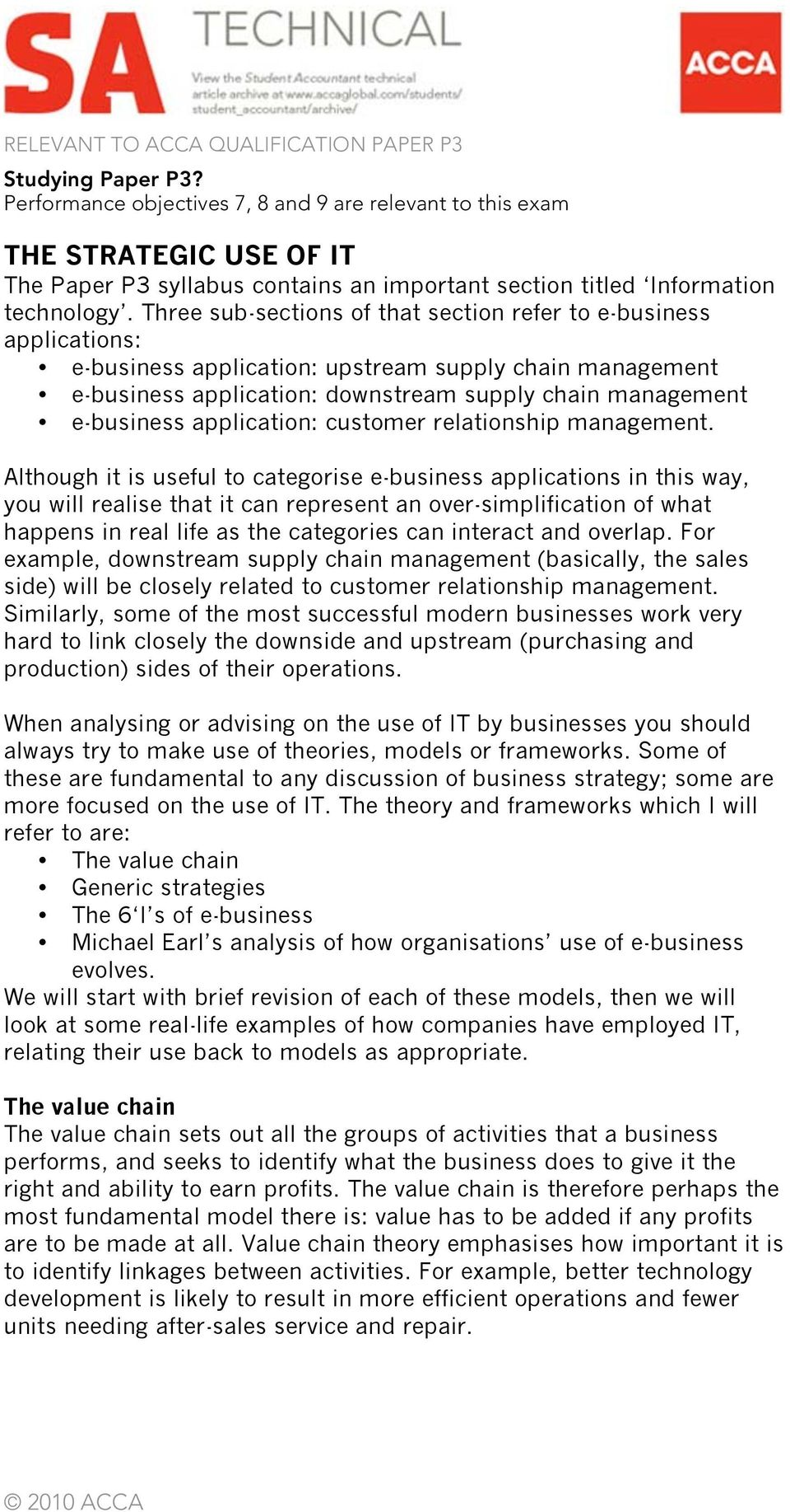 Three sub-sections of that section refer to e-business applications: e-business application: upstream supply chain management e-business application: downstream supply chain management e-business