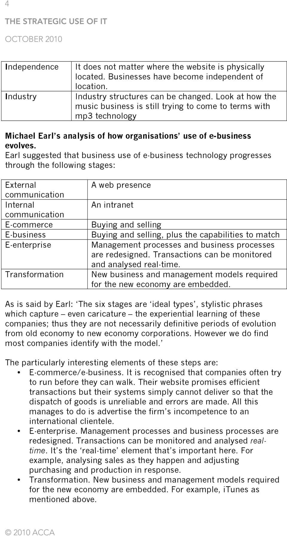 Earl suggested that business use of e-business technology progresses through the following stages: External communication Internal communication E-commerce E-business E-enterprise Transformation A