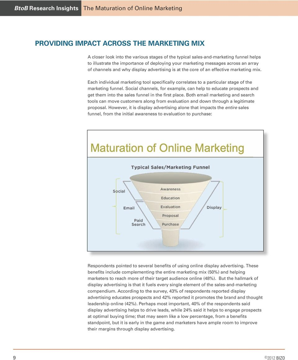 Each individual marketing tool specifically correlates to a particular stage of the marketing funnel.