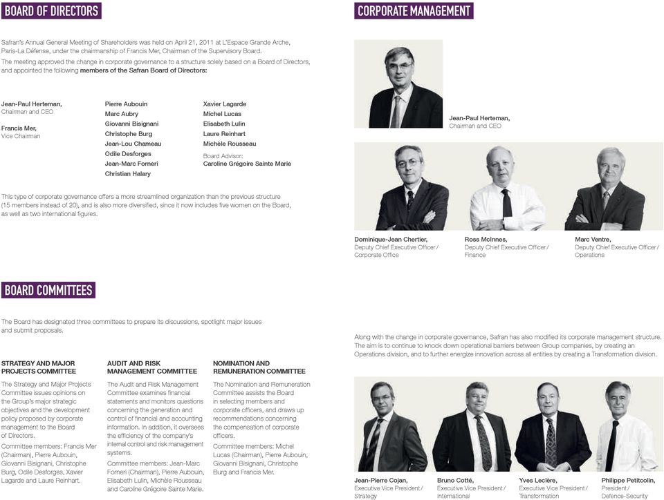The meeting approved the change in corporate governance to a structure solely based on a Board of Directors, and appointed the following members of the Safran Board of Directors: Jean-Paul Herteman,