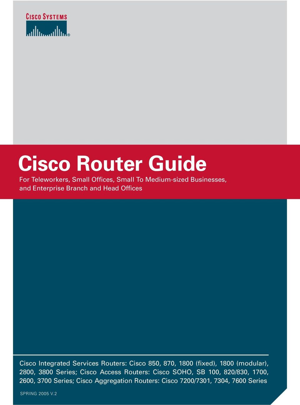 (fixed), 1800 (modular), 2800, 3800 Series; Cisco Access Routers: Cisco SOHO, SB 100, 820/830,