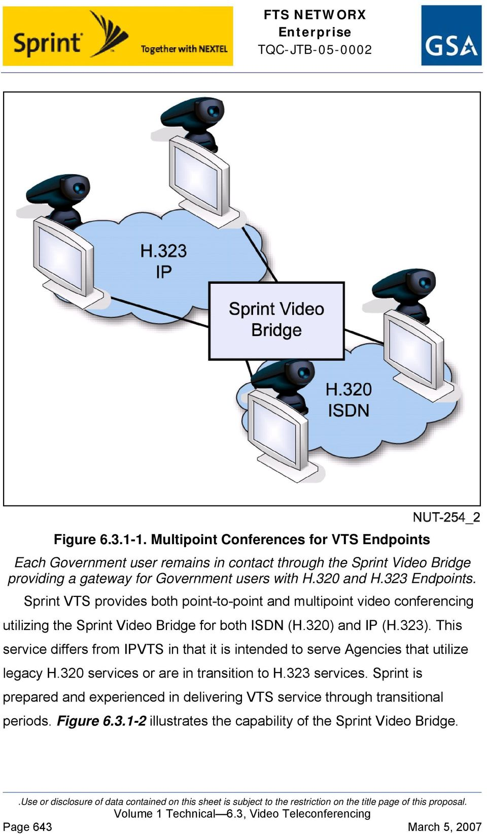 320 and H.323 Endpoints. Sprint VTS provides both point-to-point and multipoint video conferencing utilizing the Sprint Video Bridge for both ISDN (H.320) and IP (H.323).