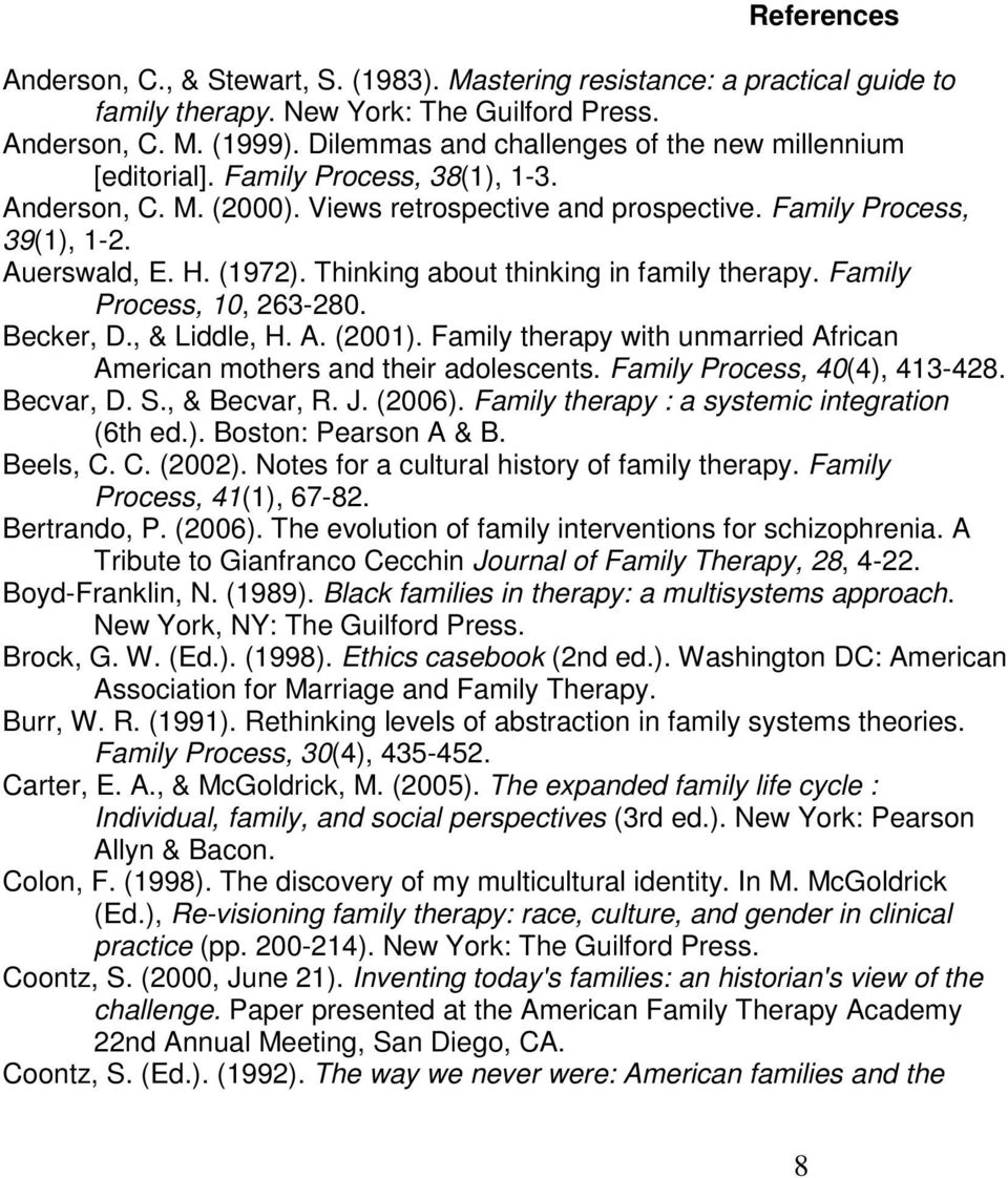 Thinking about thinking in family therapy. Family Process, 10, 263-280. Becker, D., & Liddle, H. A. (2001). Family therapy with unmarried African American mothers and their adolescents.