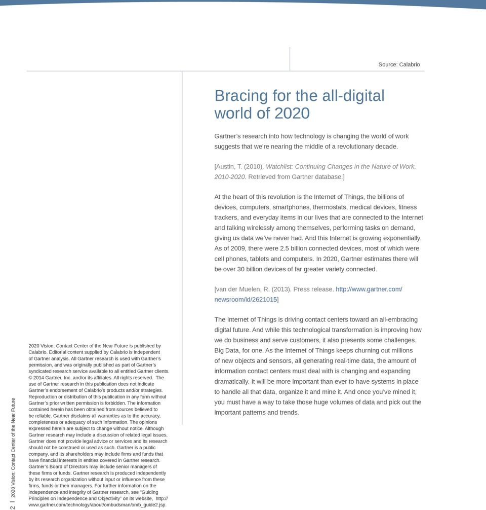 2020 Vision: Contact Center of the Near Future - PDF