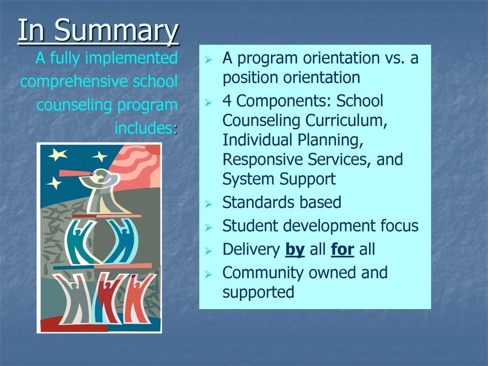 a position orientation 4 Components: School Counseling Curriculum, Individual