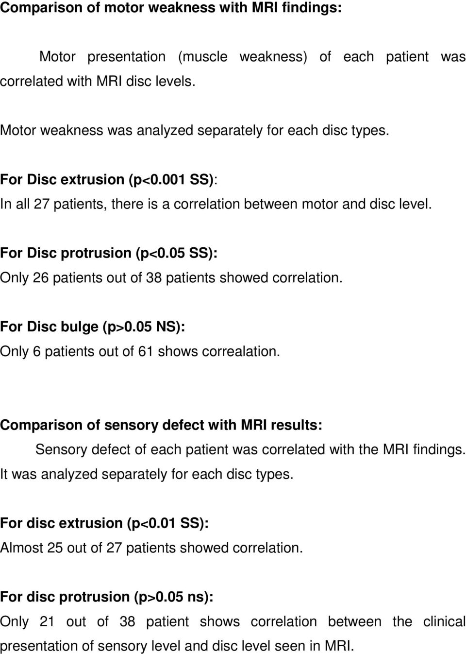 For Disc bulge (p>0.05 NS): Only 6 patients out of 61 shows correalation. Comparison of sensory defect with MRI results: Sensory defect of each patient was correlated with the MRI findings.