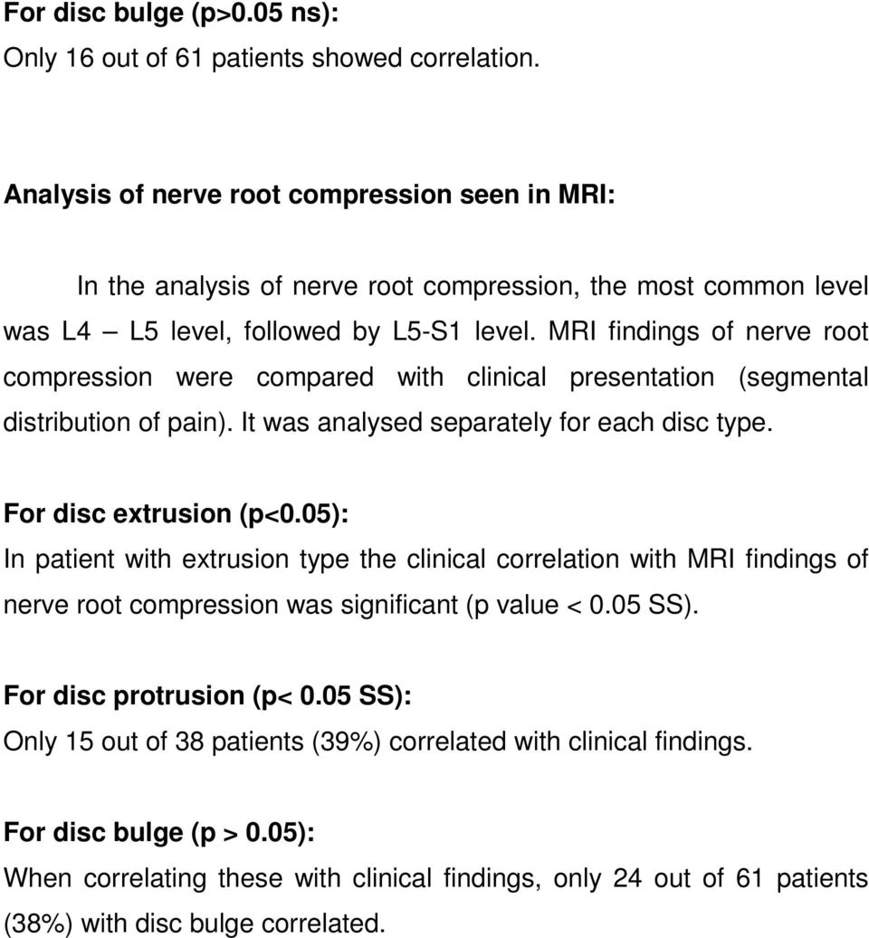 MRI findings of nerve root compression were compared with clinical presentation (segmental distribution of pain). It was analysed separately for each disc type. For disc extrusion (p<0.