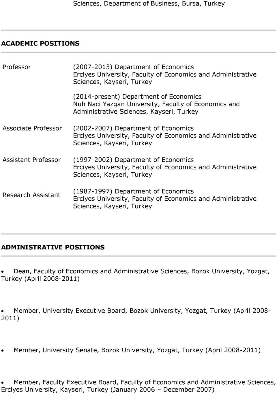 (2002-2007) Department of Economics Erciyes University, Faculty of Economics and Administrative Sciences, Kayseri, Turkey (1997-2002) Department of Economics Erciyes University, Faculty of Economics
