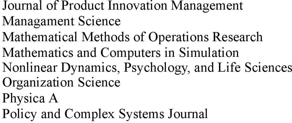 Computers in Simulation Nonlinear Dynamics, Psychology, and Life