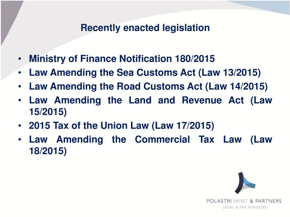 (Law 14/2015) Law Amending the Land and Revenue Act (Law 15/2015) 2015 Tax