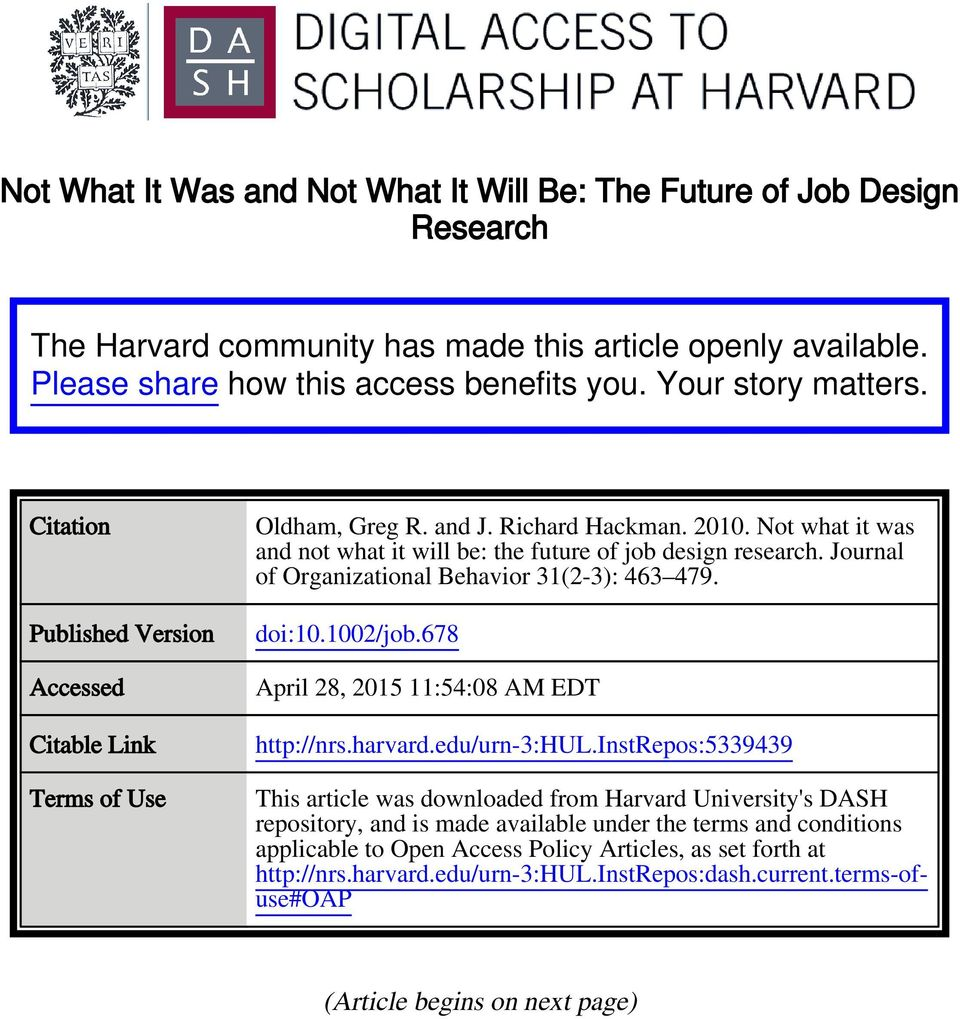 Journal of Organizational Behavior 31(2-3): 463 479. doi:10.1002/job.678 April 28, 2015 11:54:08 AM EDT http://nrs.harvard.edu/urn-3:hul.