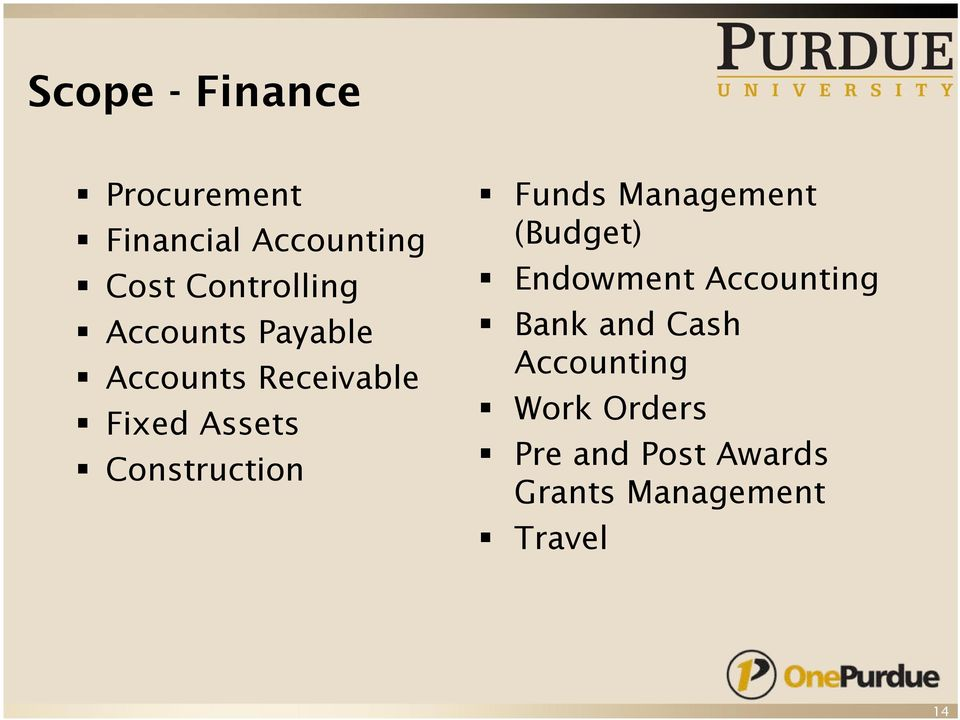Construction Funds Management (Budget) Endowment Accounting Bank