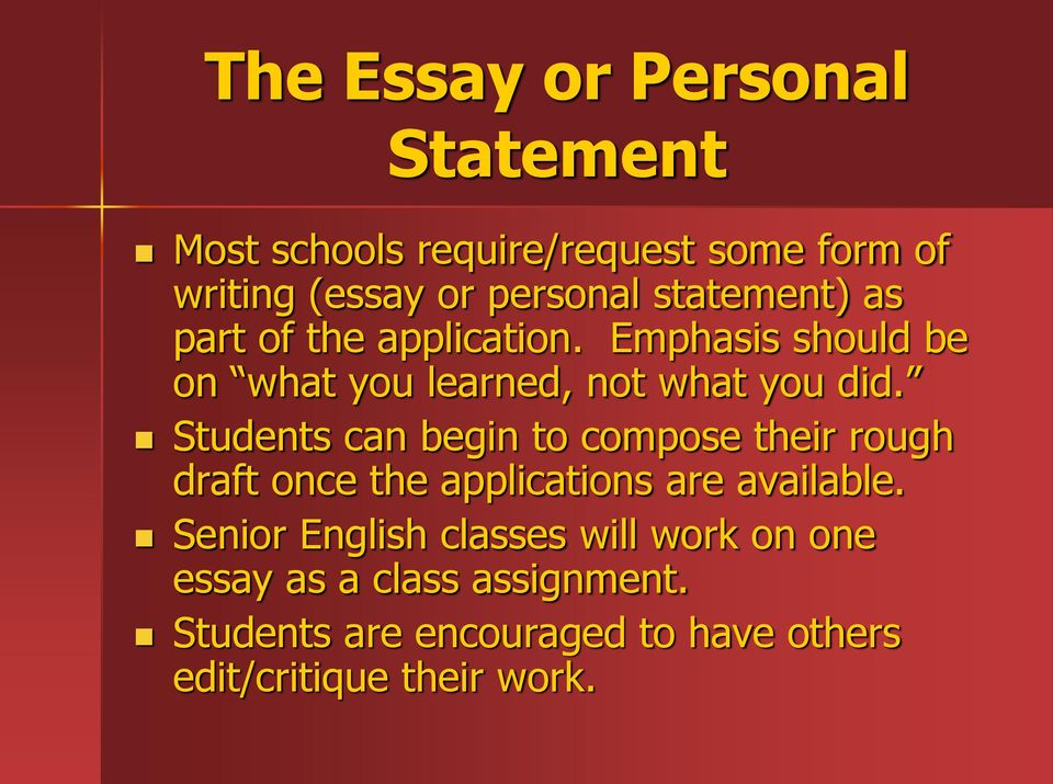 Students can begin to compose their rough draft once the applications are available.