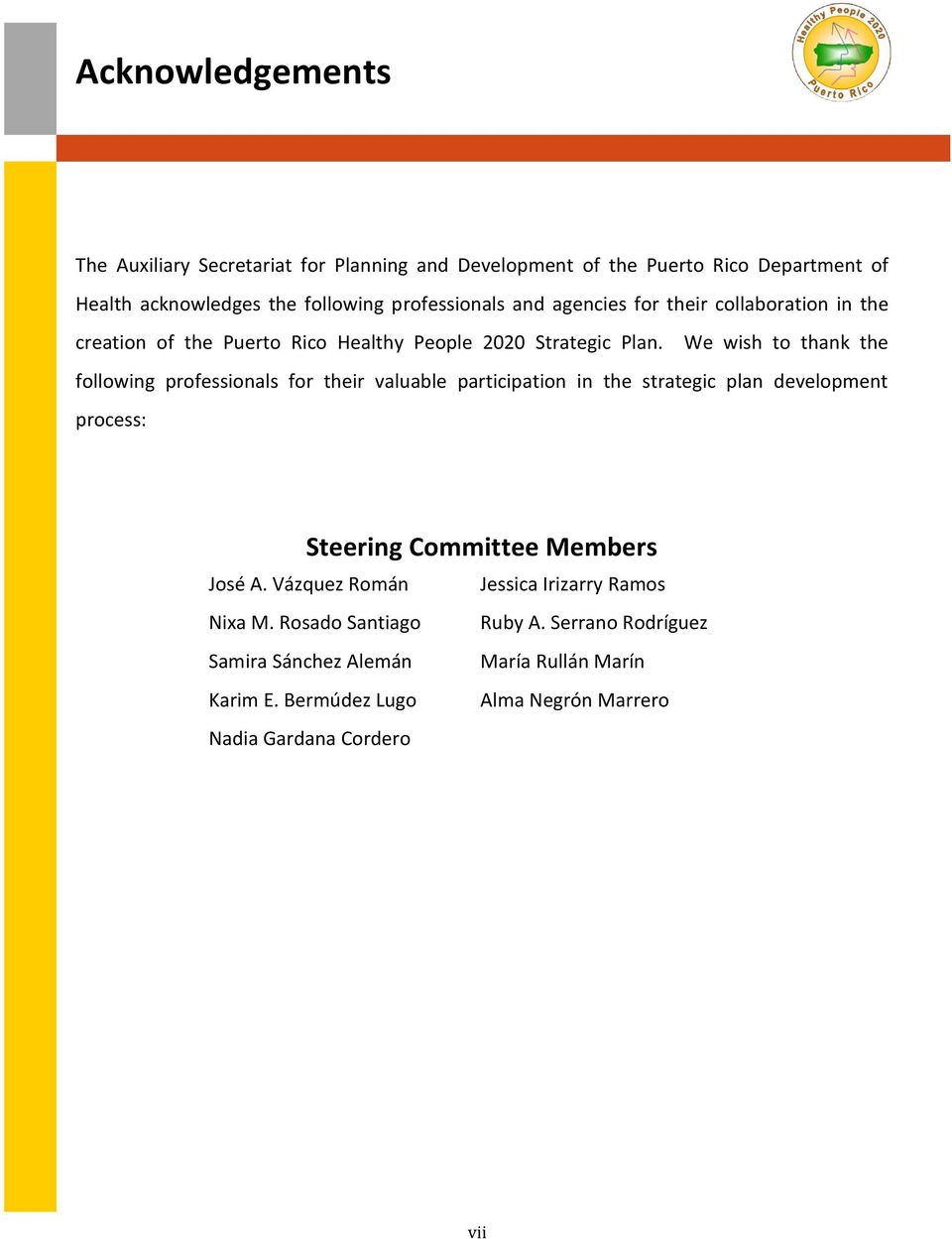 We wish to thank the following professionals for their valuable participation in the strategic plan development process: Steering Committee Members José