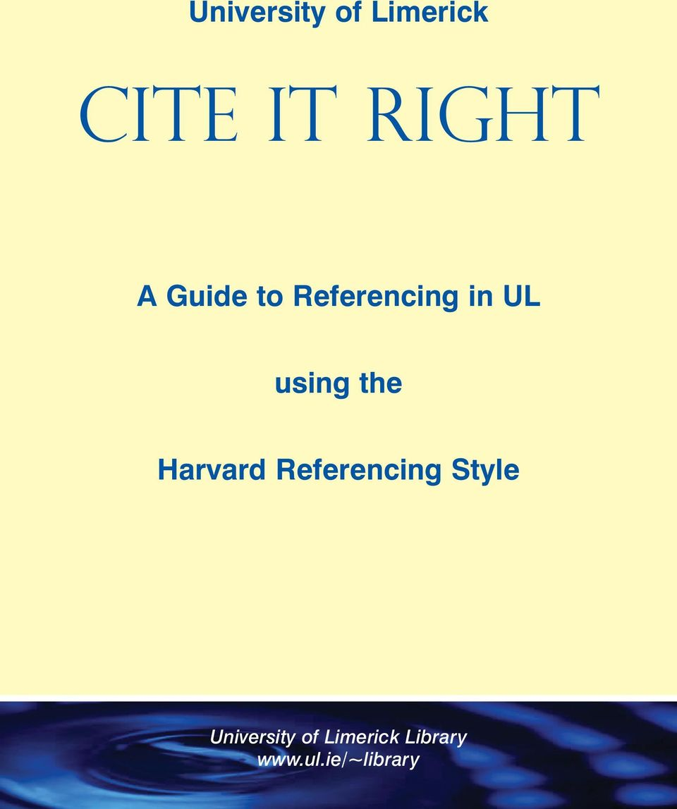 Harvard Referencing Style University