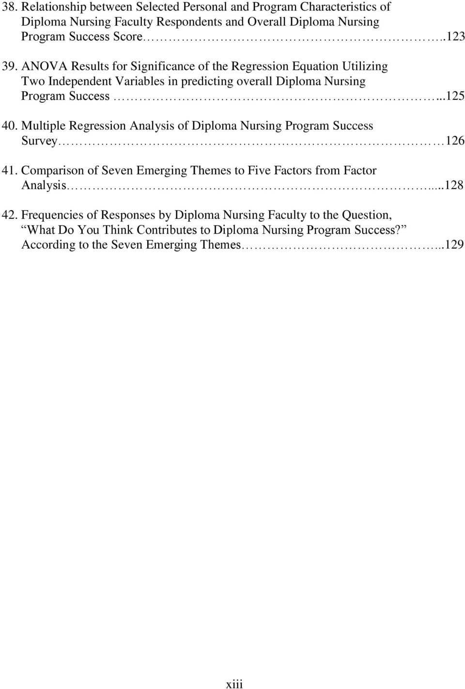 Multiple Regression Analysis of Diploma Nursing Program Success Survey 126 41. Comparison of Seven Emerging Themes to Five Factors from Factor Analysis...128 42.